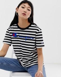 Свободная футболка в полоску с логотипом Champion - Черный