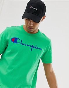 Зеленая футболка с большим логотипом Champion - Зеленый