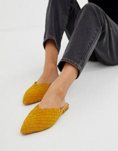 Замшевые тканые мюли горчичного цвета ALDO Eliliwia - Желтый