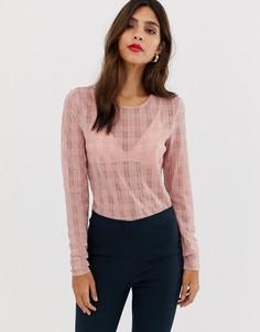 Топ с длинными рукавами и отделкой Y.A.S Lorella - Розовый