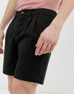 Черные облегающие шорты чиносы со складками ASOS DESIGN - Черный