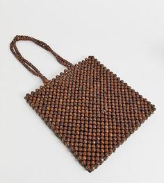 Сумка на плечо из деревянных бусин Glamorous - Коричневый