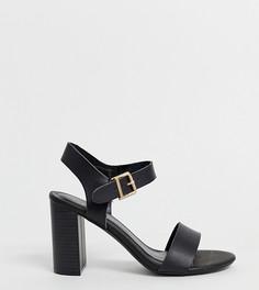 Черные босоножки для широкой стопы на блочном каблуке New Look - Черный