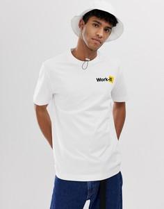 Белая футболка с надписью Work-it Billy - Белый Weekday