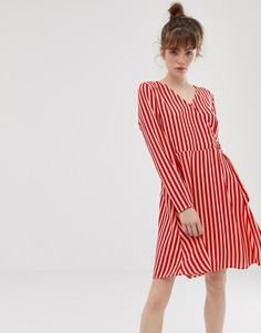 Платье в полоску с запахом Blend She Philippa - Красный