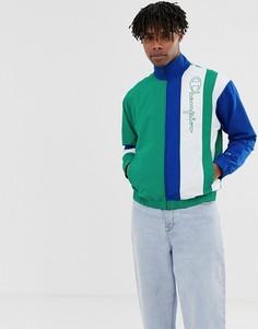 Зеленая спортивная куртка со вставкой в стиле ретро Champion - Зеленый