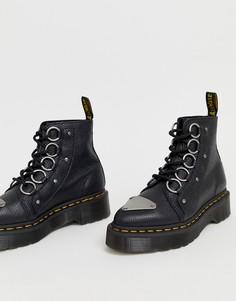 Черные кожаные ботинки с толстой подошвой и ленточной шнуровкой Dr Martens Farylle - Черный