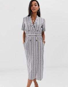 Платье-смокинг миди в полоску ASOS DESIGN - Мульти