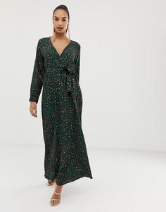 Платье макси с запахом и леопардовым принтом Club L - Мульти
