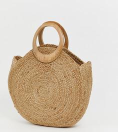 Круглая сумка-тоут с деревянными ручками Accessorize - Бежевый