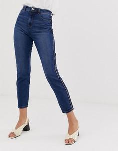 Джинсы в винтажном стиле с полосой по бокам JDY Danny - Синий