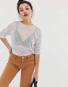 Oversize-футболка из сетки в горошек Daisy Street - Белый