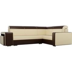 Угловой диван Лига Диванов Мустанг с двумя пуфами экокожа бежевый/коричневый правый угол