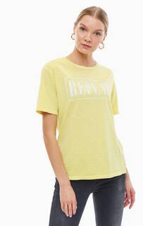 Хлопковая футболка желтого цвета с принтом Replay
