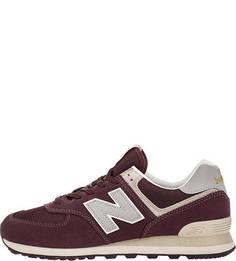 Бордовые кроссовки из замши с текстильными вставками 574 New Balance
