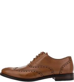 Кожаные туфли оксфорды с брогированием Clarks