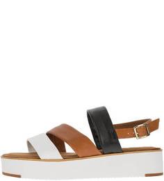 Трехцветные сандалии из натуральной кожи Tamaris