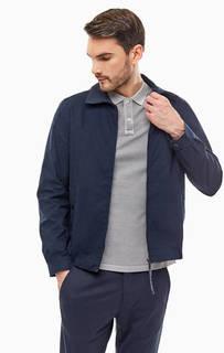 Темно-синяя куртка из хлопка с отложным воротничком Tommy Hilfiger
