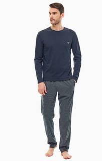 Домашний хлопковый комплект из футболки и брюк Emporio Armani