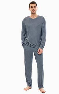 Домашний комплект из футболки и брюк синего цвета Emporio Armani