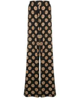 Mm6 Maison Margiela брюки палаццо с цветочным принтом
