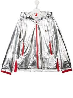 Moncler Kids куртка-бомбер с эффектом металлик