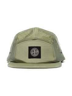 Stone Island olive green logo label flat peak cap