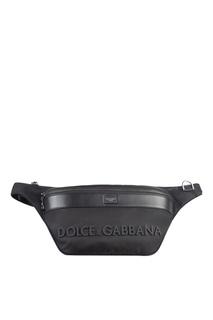Черная сумка на пояс с логотипом Dolce & Gabbana
