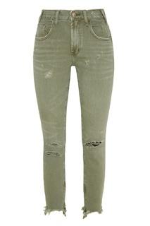 Зеленые джинсы с эффектом поношенности One Teaspoon