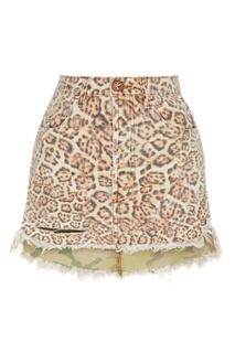 Леопардовая мини-юбка из денима One Teaspoon