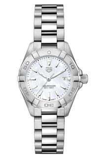 AQUARACER Кварцевые женские часы с белым перламутровым циферблатом Tag Heuer