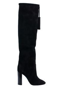 Черные замшевые ботфорты с кистями Saint Laurent