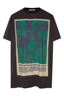 Черная футболка оверсайз с принтом Acne Studios