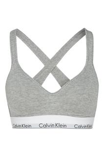 Серый бюстгальтер в спортивном стиле Calvin Klein