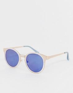 Круглые солнцезащитные очки цвета розового золота с синими зеркальными стеклами ASOS DESIGN - Золотой