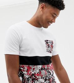 Камуфляжная футболка с контрастной вставкой Another Influence TALL - Белый