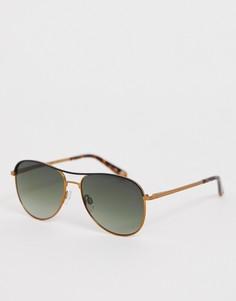 Золотистые солнцезащитные очки-авиаторы с зелеными стеклами Ted Baker - Золотой