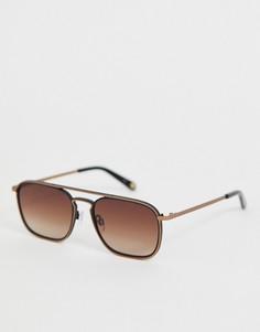 Золотисто-черные солнцезащитные очки в квадратной оправе Ted Baker - Черный