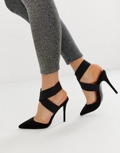 d04cc8449 Черные туфли на высоком каблуке с эластичными ремешками ASOS DESIGN - Черный
