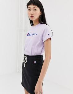 Свободная футболка с логотипом Champion - Фиолетовый