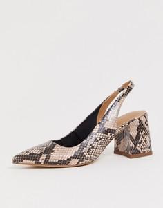 008e38f60 Туфли на среднем каблуке с ремешком через пятку ASOS DESIGN Samson - Мульти