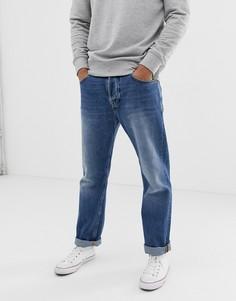 Суженные книзу свободные джинсы со строчками оранжевого цвета Nudie Jeans Co Sleepy Sixten - Синий