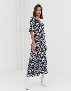 Синее платье с цветочным принтом и длинными рукавами AX Paris - Темно-синий
