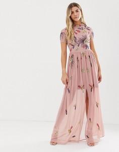 Платье макси пыльно-розового цвета с цветочной отделкой Frock And Frill - Розовый