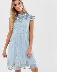 Голубое платье мини с высоким воротом и отделкой Frock And Frill - Синий