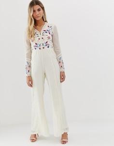 Комбинезон кремового цвета с широкими штанинами и вышивкой с пайетками Frock And Frill - Кремовый