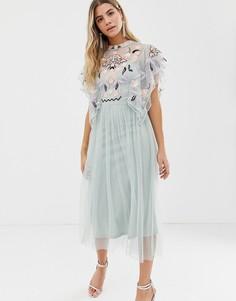 Платье мидакси из сетки добби с цветочной вышивкой Frock And Frill - Зеленый