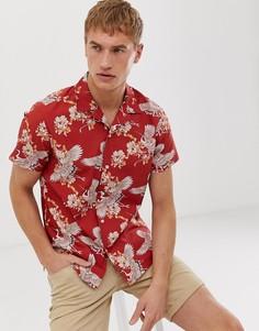 Красная рубашка с отложным воротником и принтом птиц Selected Homme - Красный