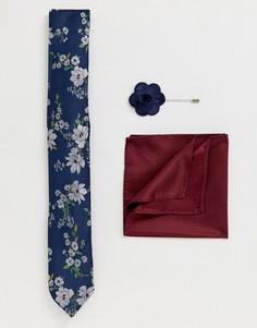 Розовый комплект с галстуком, нагрудным платком и булавкой с темно-синим цветочным принтом New Look - Темно-синий