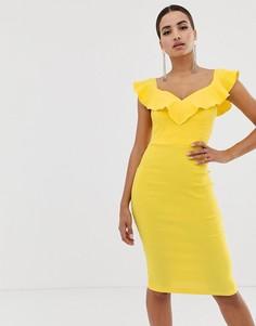 Желтое облегающее платье с вырезом сердечком и оборками Vesper - Желтый